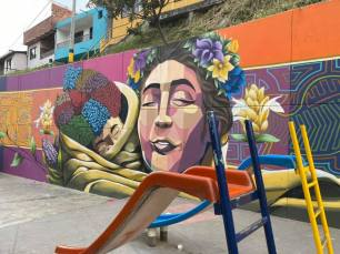 Comuna 13 is well-known for ongoign street art installations.